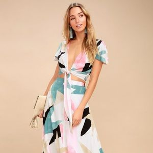 Daydreaming White Print Two-Piece Maxi